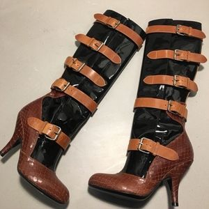 VIVIENNE WESTWOOD Heeled PIRATE BOOTS Patent Moc